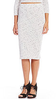 Copper Key Space Dyed Ribbed Knit Pencil Skirt