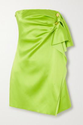 Versace Button-embellished Strapless Draped Satin Mini Dress - Green