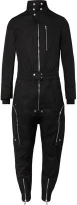 Rick Owens Leather-Trimmed Cotton-Blend Canvas Jumpsuit