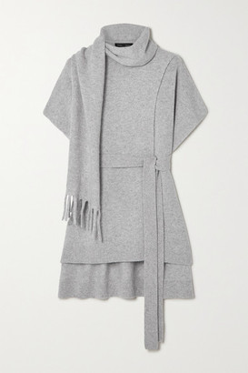Proenza Schouler Belted Draped Cashmere Sweater - Light gray