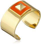"Trina Turk Retro Sport"" Pyramid Top Bangle Gold Orange Cuff Bracelet"