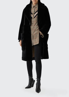 Burberry Long Oversized Lamb Shearling Coat
