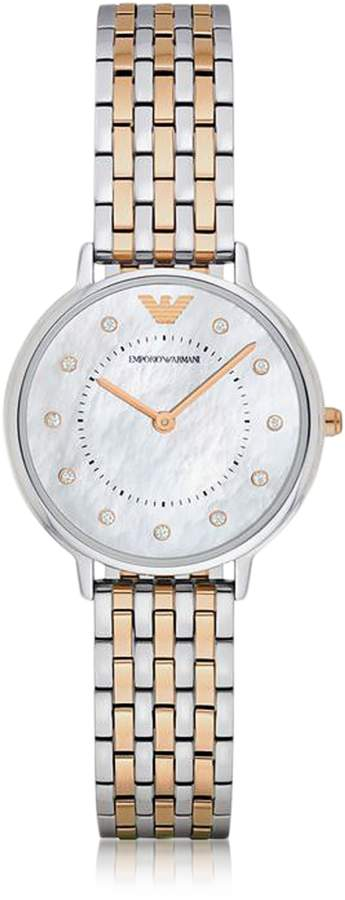 Emporio Armani Kappa Two Tone Stainless Steel Women's Quartz Watch w/Mother of Pearl Dial