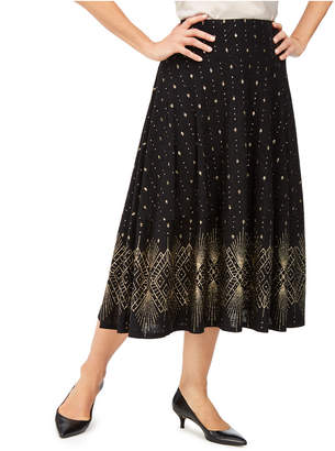 JM Collection Petite Glitter-Border A-Line Skirt