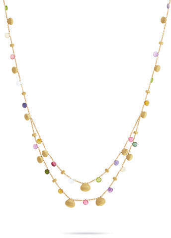 Marco Bicego Paradise Short Necklace with Mixed Gemstones in 18K Yellow Gold