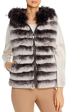 Max & Moi Roma Channel Quilted Fur Vest