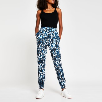 River Island Womens Blue abstract printed jogger