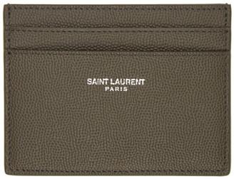 Saint Laurent Khaki Grain De Poudre Card Holder