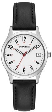 Caravelle Designed by Bulova Women's Black Leather Strap Watch 30mm