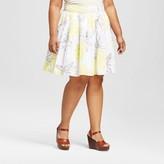 Merona Women's Plus Size Pleated Skirt Pineapple Print White