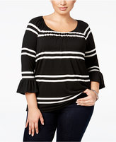 INC International Concepts Plus Size Striped Peasant Top, Only at Macy's
