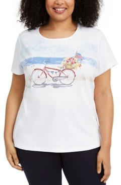 Karen Scott Plus Size Bicycle Graphic Top, Created for Macy's