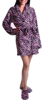 Body Candy Women's Pink Zebra Luxe Plush Robe and Slipper Set
