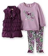 Kids Headquarters Baby Girls' Purple 3-pc. Puffy Vest Set