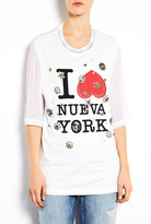White Nueva York Floral Eyelet Embellished T-shirt