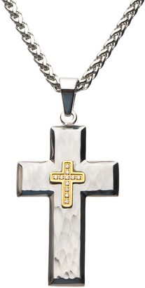 Men's Gold Ion Plated Cubic Zirconia Cross Pendant Necklace