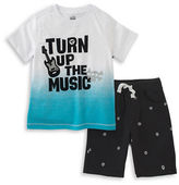 Kids Headquarters Baby Boys Turn Up The Music Tee and Shorts Set
