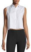 Alexander Wang Cropped Boxy Poplin Top, White