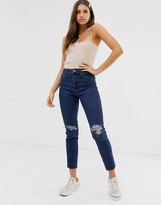 New Look ripped knee skinny jeans in mid blue