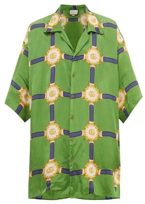 Gucci Oversized Harness-print Silk-twill Shirt - Mens - Green