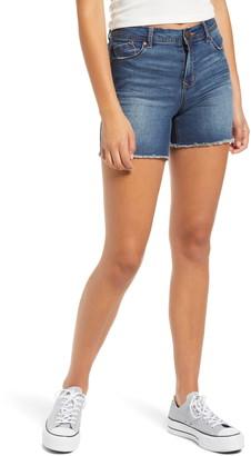 1822 Denim Mesh Panel High Waist Denim Shorts
