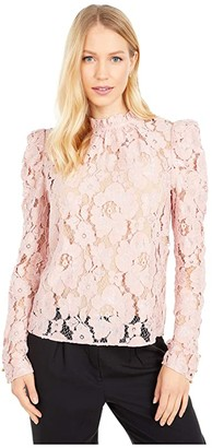 WAYF Emma Puff Sleeve Top (Blush) Women's Blouse