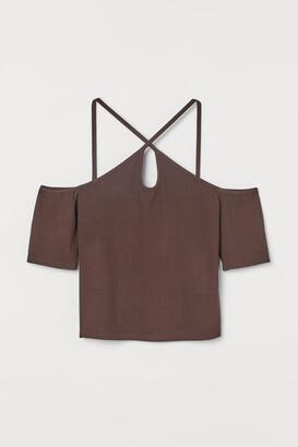 H&M Ribbed cold shoulder top