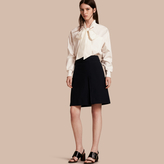 Burberry Stretch A-line Technical Skirt with Pleat Detail