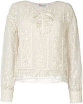RED Valentino crochet and sheer panel blouse - women - Polyester/Cotton - 40