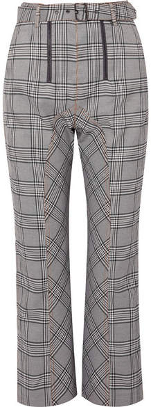 Self-Portrait Cropped Checked Tweed Straight-leg Pants - Gray