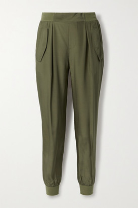 ATM Anthony Thomas Melillo Silk-charmeuse Track Pants - Army green