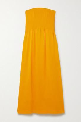 Nina Ricci Strapless Pintucked Silk-crepe Maxi Dress - Yellow