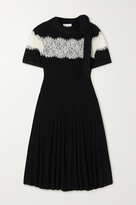 RED Valentino Lace-paneled Ribbed Wool Mini Dress - Black