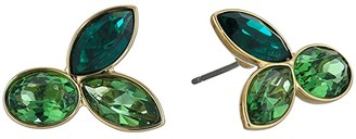 Swarovski Bamboo Pierced Earrings Studs (Erinite/Emerald) Earring