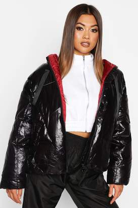 boohoo Oversized High Shine Puffer Jacket