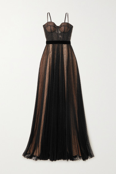 RALPH & RUSSO Velvet-trimmed Metallic Fil Coupe Tulle Gown - Black