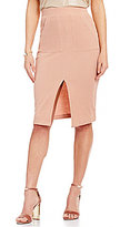J.o.a. Front Slit Solid Midi Pencil Skirt
