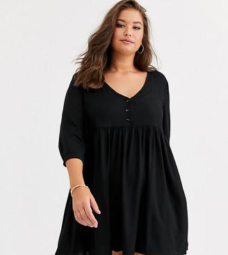Simply Be v neck smock dress in black