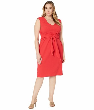 Adrianna Papell Womens Petite Side-Ruched Essential Sheath