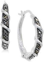 Macy's Marcasite Wrap-Look Hoop Earrings in Silver-Plate