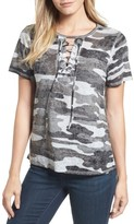 Lucky Brand Women's Lace-Up Camo Tee