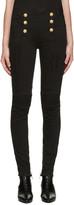 Balmain Black Buttoned Biker Jeans