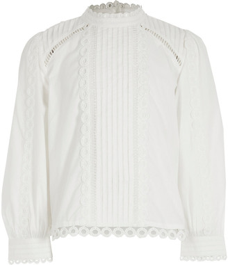 River Island Girls white embroidered long sleeve blouse