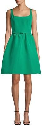 Oscar de la Renta Belted Silk Fit--Flare Dress