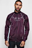 Tricot Piped Embroidered Track Top