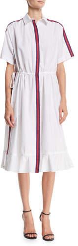 Kenzo Striped Short-Sleeve Flounce Shirtdress