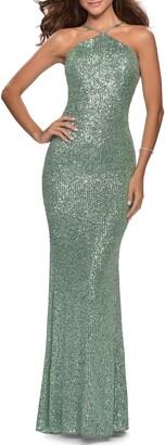 La Femme Sequin Halter Neck Gown