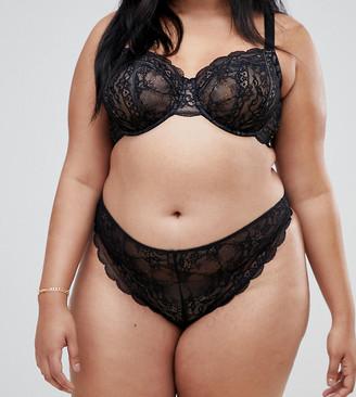 Asos DESIGN Curve Ella lace thong-Black