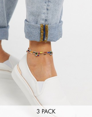 ASOS DESIGN pack of 3 anklets with colourful rainbow beads and flowers in gold tone