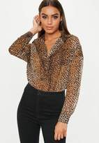 Missguided Brown Leopard Print Oversized Plunge Shirt
